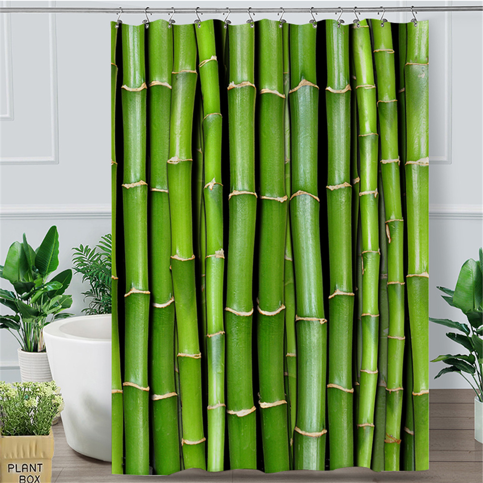 Green Shower Curtain Branch and Bamboo Stems Print for Bathroom 70 Inches Long