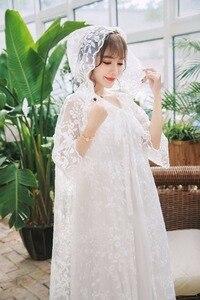 Image 3 - Robe Women Dress Elegant Sleepwear White Lace Nightgown Long Dress Ladies Wedding Dress Party Dress