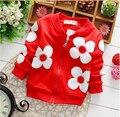 2015 spring girl chaqueta al por menor 0-2 años del bebé outwear niños chaqueta del bebé de la flor de la manga larga