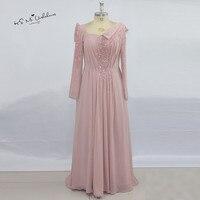 Unique Pink Long Sleeve Muslim Evening Dress 2017 Moroccan Kaftan Robe De Soiree Beads Elegant Prom