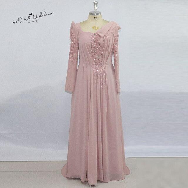 Einzigartige Rosa Langarm Muslimischen Abendkleid 2017 ...