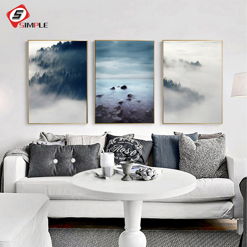 Living Room Art Printables: Landscape Poster Scandinavian Canvas Painting Wall Picture