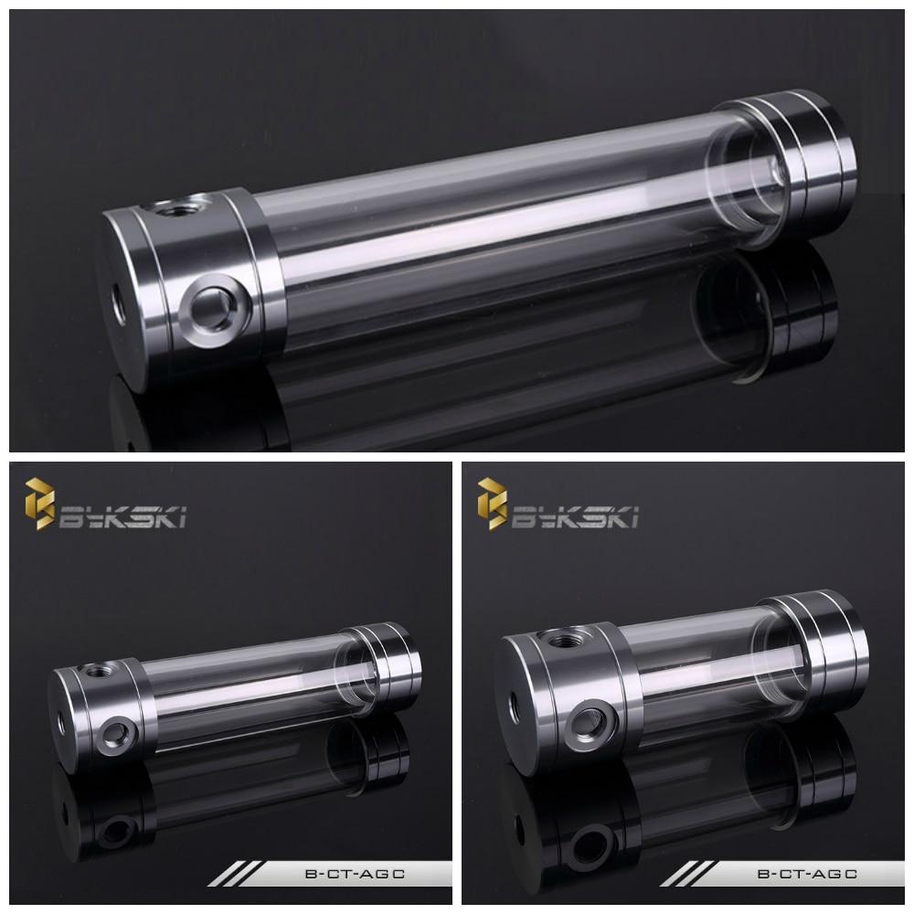 Bykski B-CT50-AGC 50mm Acrylic Transparent Reservoir Tank 150/200/260mm Metal Cap wt 039 acrylic reservoir w temperature display transparent 0 8l