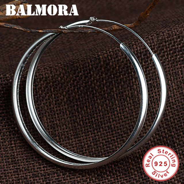 BALMORA Hot 925 Sterling Silver Circle Round Earrings for Women Party Gift Sterling Silver About 18 CM Fashion Jewelry SY31740