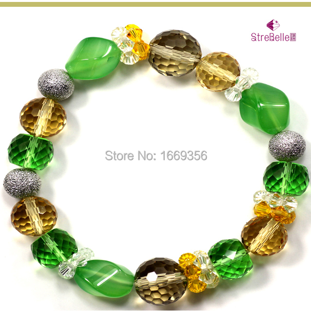 2016 new cystal and agate bracelets Fashion color elastic threadlady gift Jewelry & Accessories>>Fashion Jewelry>>Bracelets