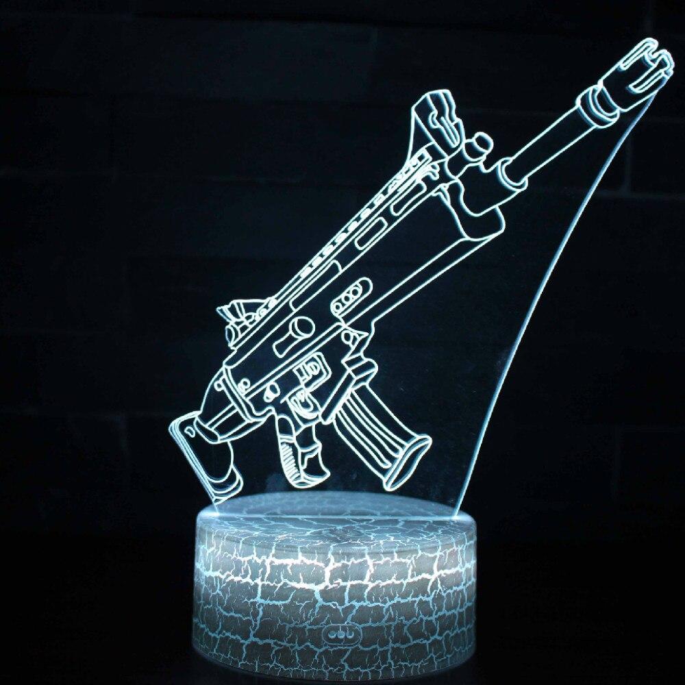 Caliente nuevo juego Battle Royale 3D sueño lámpara cambiable ataque del arma protección luminosa juguetes con 7 Color