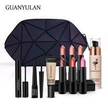 GUANYULAN New Year Professional Surprise Makeup Set Matte Lipstick Mascara Eyeliner Foundation Concealer With glisten Handbag