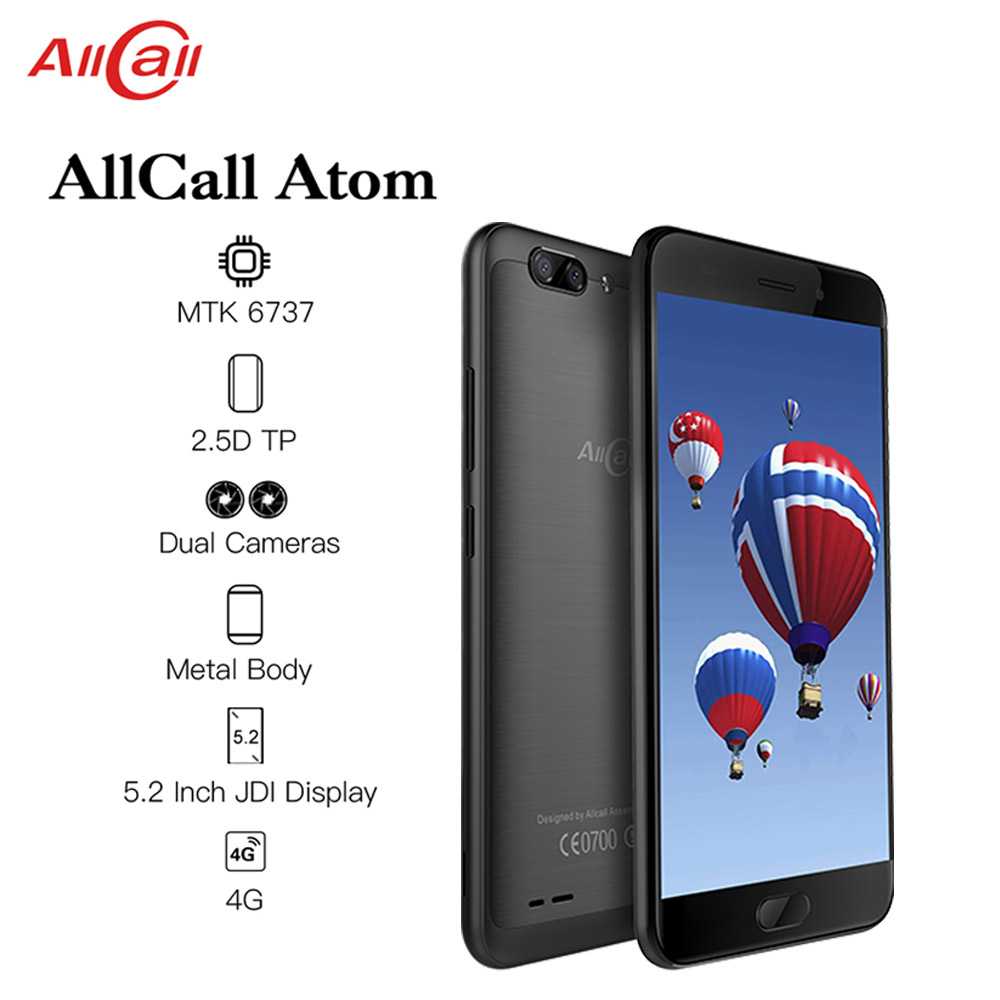 ALLCALL Atom 4G Dual SIM SmartPhone MT6737 Quad-core 2GB RAM 16GB ROM 5.2 Inch TFT IPS 8MP+2MP Daul Rear Cameras 4G Mobile Phone