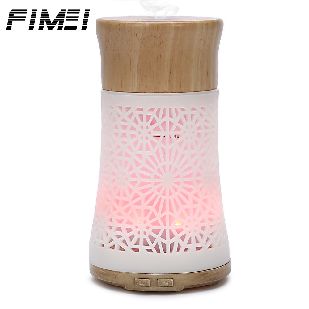Fimei 120ml Air Humidifier Fogger Wood Aroma Diffuser LED Night Light Air Humidifier Ultrasonic Humidifier Mist Maker For Home ivyshion 1pc arotrerapy humidifier creative heart fireworks led night light air humidifier seven colors aroma diffuser for home