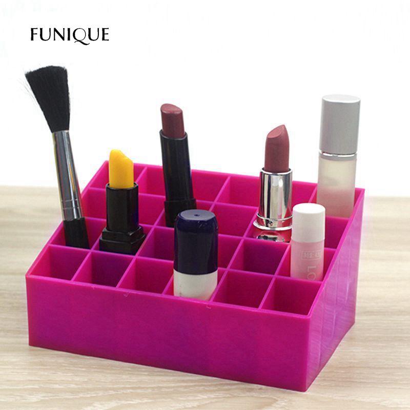 FUNIQUE Lipstick Holder Desktop Storage Box Lipstick Transparent Lipstick Display Frame Makeup Eyebrow Pencil Storage Bins