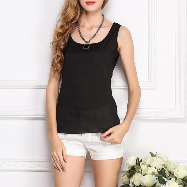e3ae89b90fde5 Women Vest Vest Chiffon Crop Tops T-Shirt Blouse Sexy Summer Tank Tops  O-Neck Sleeveless Pure Color Female T shirts Fashion 2019