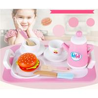 14pcs Wooden Tea Coffee Cup Set Humburger Kitchen Pretend Play Role Playing Game Educational Toys Gift for Children Kids Toddler