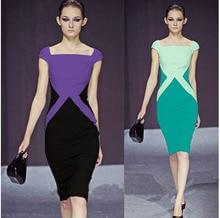 2016 Women s Fashion Hit Color Pencil Dress Work Short Sleeve Dress Knee Length Luxury Party
