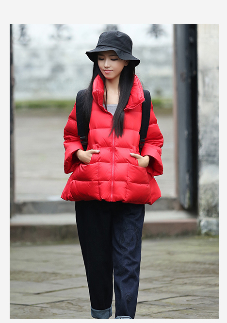 2018 new Ms. loose leisure short down jacket red down jacket large size