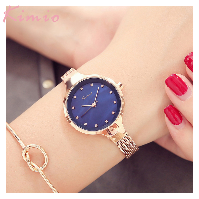 100% Kimio Relojes Mujer Wristwatch Bracelet Quartz Watch Woman Ladies Watches Clock Female Dress Relogio Feminino For Women stylish golden hollow rounded rectangle hasp bracelet for women