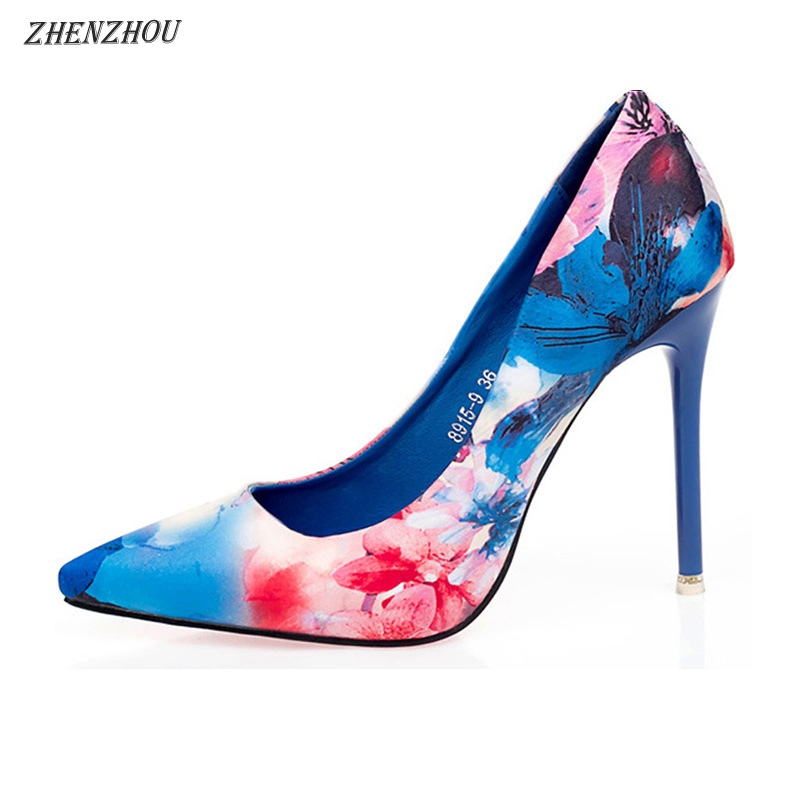 ZHENZHOU Ethnic Style Retro Flowers Floral Pointed Women Pump Shoes High Heels Office Ladies Dress Shoes