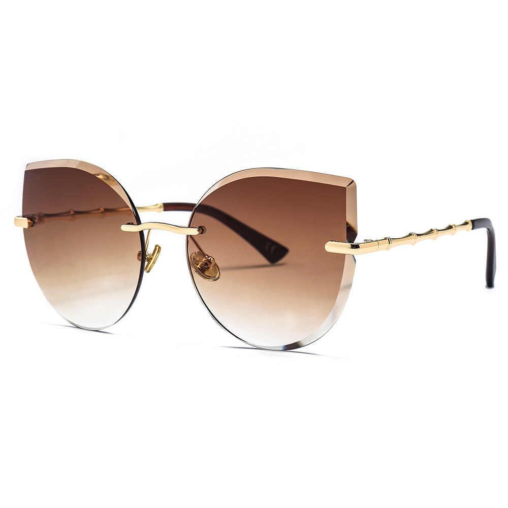 LONSY Più Nuovo Semi-Senza Orlo Occhio di Gatto Occhiali Da Sole Donne Del Progettista di Marca Occhiali Da Sole Per Le Donne Occhiali di Moda Per Zonnebril Dames
