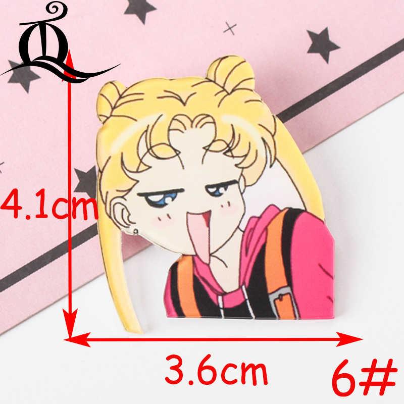 1 PCS Sailor Moon Ragazze Carattere Icona Harajuku Acrilico Distintivi e Simboli Zaino Spilli Vestiti fai da te Autoadesivo Del Fumetto Anime Spilla Ragazze regali
