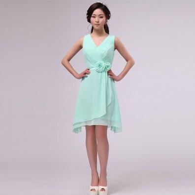 chiffon maxi bruidsmeisje 12 size meisjes mint korte jurk korte