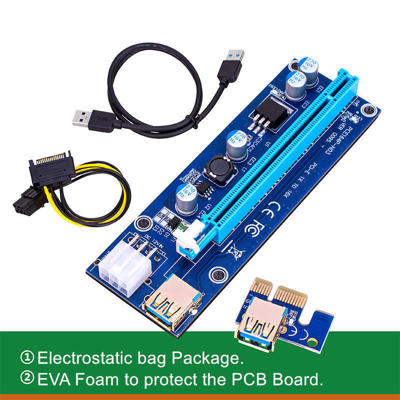 Computer & Office 1pcs Ver009s Led Pci-e Riser 1xto16x Usb3.0 Images Mining Extension Cable