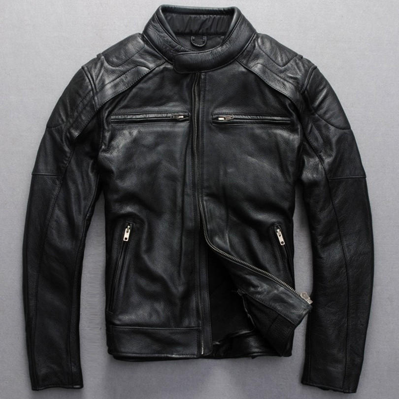 100% Wahr 2017 Männer Slim Fit Leder Motorradjacke Schwarz Reale Cowskin Biker Jacke Männer Stil Leder Jacken Und Mäntel Für Mann üPpiges Design