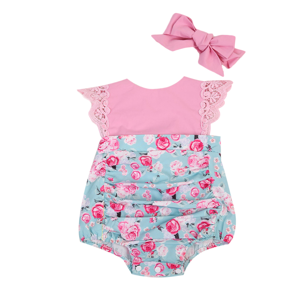 Baby Girls Kids Outfits Set Floral Back Cross Princess   Romper   Lace Flying Sleeve Jumpsuit Party Sunsuit Clothing