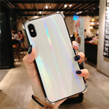 Haissky Plating Laser Phone Case For iPhone X 8 7 6 6S Plus Tempered Glass Case Shockproof Back Cover For iPhone 7 Plus 8 Plus iPhone