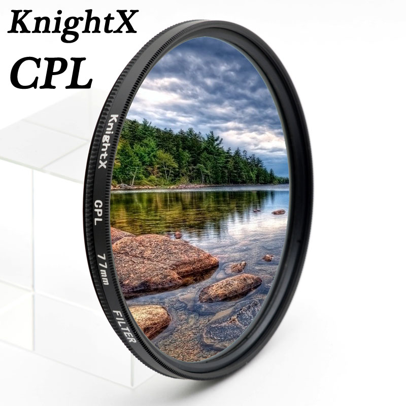 KnightX CPL cpl polarizador 49mm 52mm 55mm 58mm 62mm 67mm 72mm 77 MM Filtro de lente para Sony Canon Nikon 400D D3000 450D 52