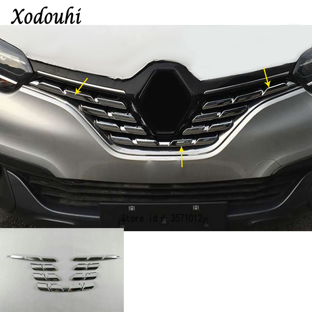 For Renault Kadjar 2016 2017 2018 2019 Car Body Cover Protection Detector ABS Chrome Trim Racing Grid Grill Grille Molding 7pcs image