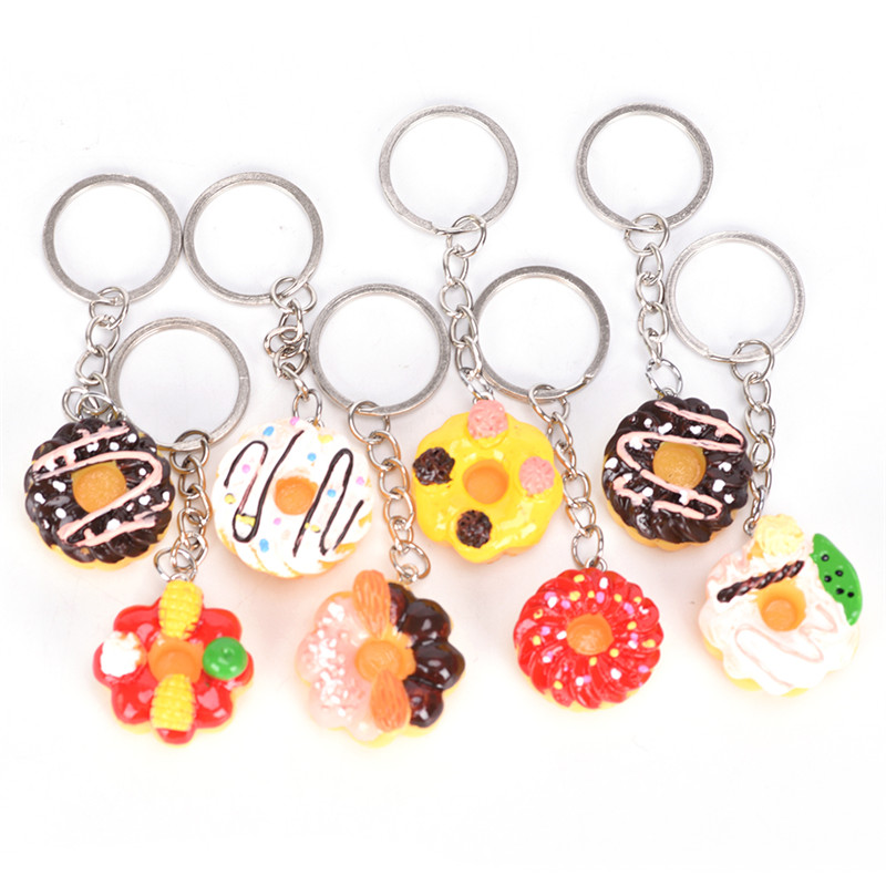 8Pcs/sets Cute Charming Simulation Food Resin Doughnut Cake Keychain For Women Girls Gifts Car Bags Keyring Hot Sell