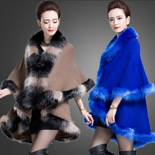 2015 New design winter fashion faux fur collar women's double layers long thick cloak sweater