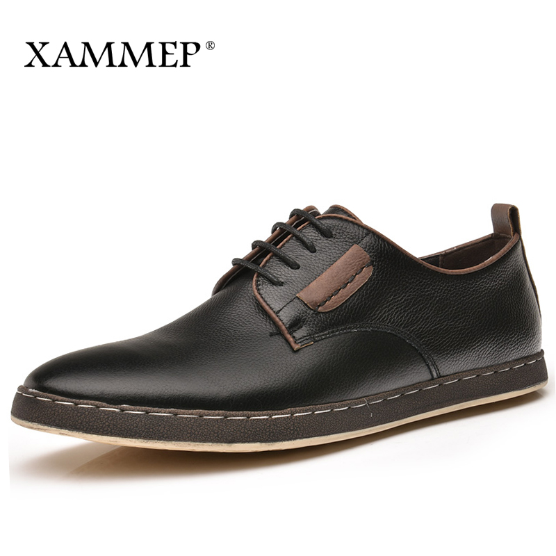 где купить Genuine Leather Men Shoes Men Casual Shoes Brand leather shoes Men's Flats Men Sneakers Leather Big Size Spring Autumn Xammep по лучшей цене