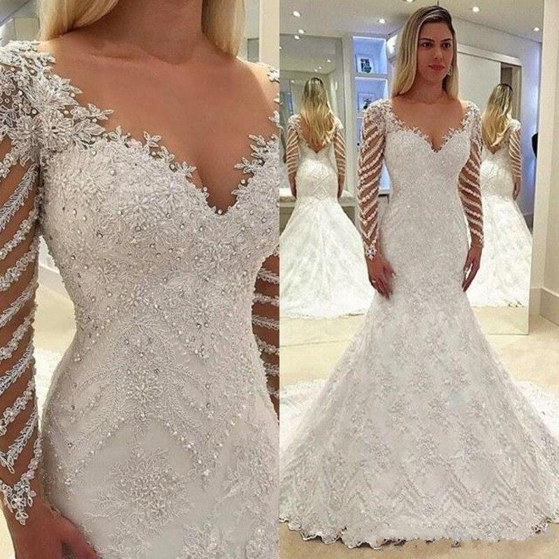 Nouvelle robe de mariée Sexy sirène avec des applications en dentelle cristaux perles col en v dos nu manches longues sur mesure robes de mariée Longo
