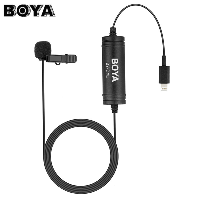 BOYA BY-DM1 6m Lavalier Lapel Microphone Clip-on Video Recording Mic for Iphone X 8/7 Plus for Ipad Air for Ipod
