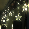Holiday LED Decoration 220V 3M 120Leds 12pcs Star LED Curtain String Fairy Curtain Garlands For Xmas Wedding Party