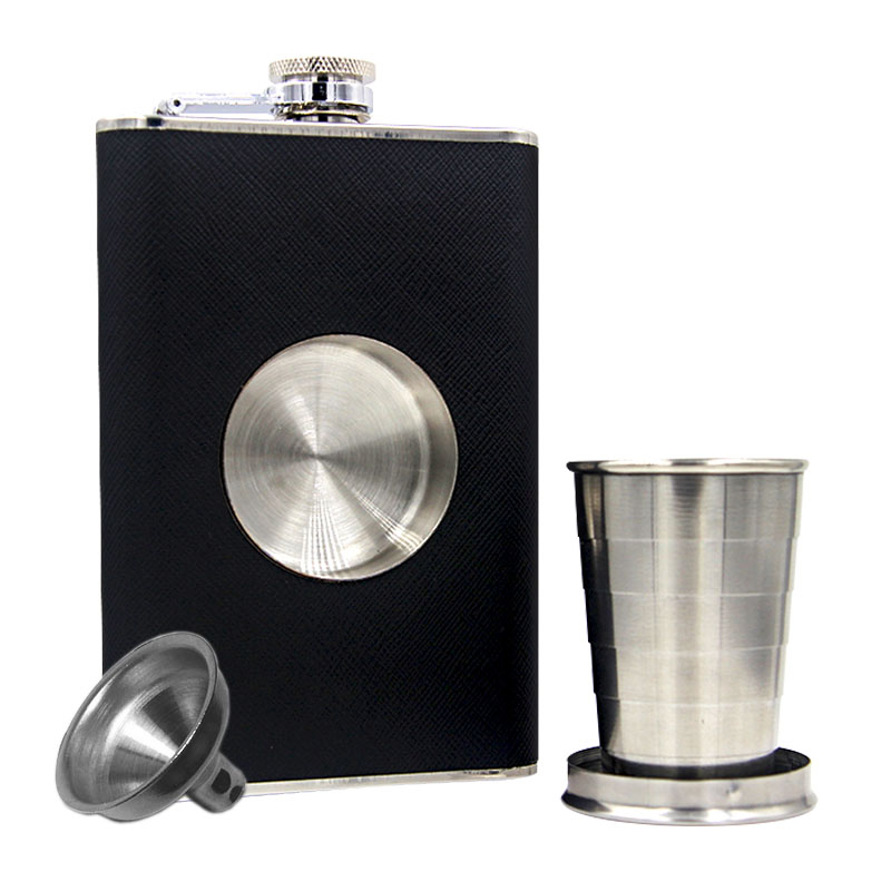 bpa free 8oz Folding and stretching whisky flagon Stainless steel alcohol hip flask with pu leather