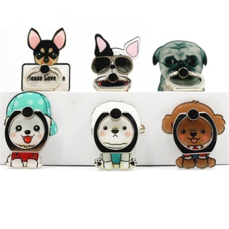 UVR  Mobile Phone Stand Holder Cute Dog Bulldog Teddy Finger Ring Smartphone Cute Animal Bear Holder Stand For All Phone