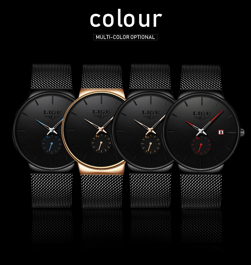 HTB1P2sve8Cw3KVjSZFlq6AJkFXah Relojes Hombre LIGE New Mesh Steel Men Watches Top Brand Luxury Ultra-thin Waterproof Quartz Watch Men Casual Sport Quartz Clock