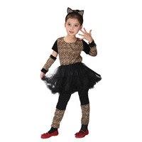 النسخة حيوية جميلة طفلة تأثيري الملابس المشاغب جميلة ليوبارد الفتيات عيد هالوين كرنفال حزب اللباس