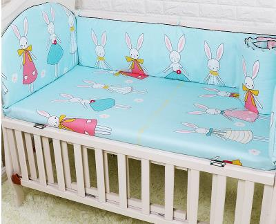 Promotion! 5PCS Unisex Cartoon Baby Bedding Set Cotton Bed Bumper Infant ,include:(bumpers+sheet)