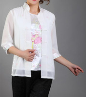 New Arrival Fashion White Chinese Women S Silk Satin Shirt Top Embroidery Blouse Flower Size