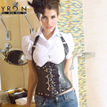 Yi Ran Shi Ni Steampunk Clothing Black Feather Corset White Leather Corset Lace Waist Trainer Sexy Body Shaper LC5144