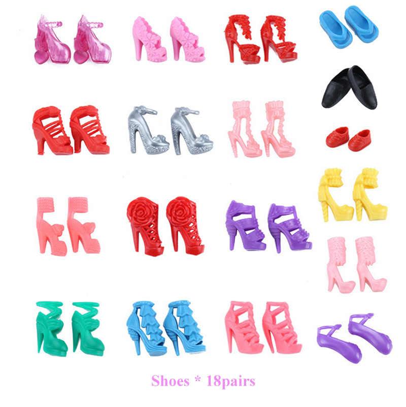 83 шт./комплект аксессуары для кукол = 10 шт. одежда куклы, платье + 18 пар обуви + 2 шт. корона + 2 сумки + 12 вешалка для одежды для куклы-Барби