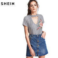 SheIn V Neck T Shirts For Women Summer Womens Tops 2017 Heather Grey Cut Out V