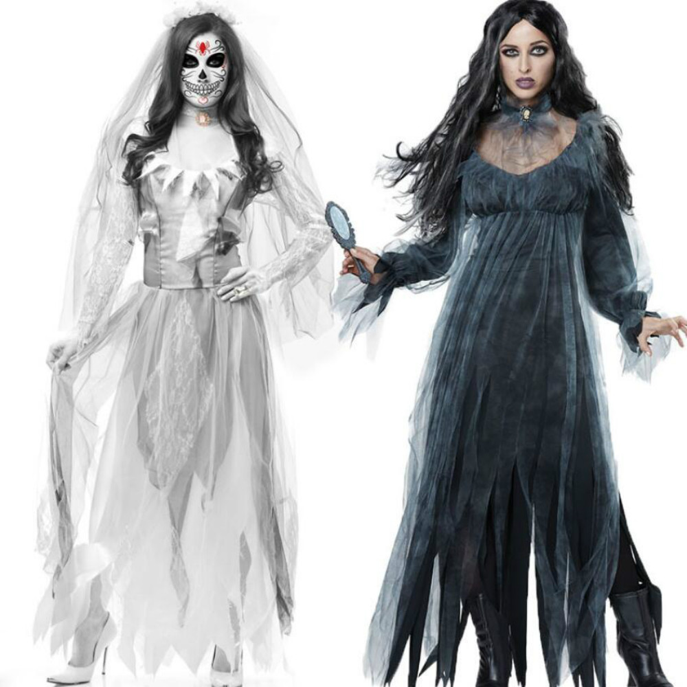 Carnival Party Wear White Ghost Bride Long Dress Halloween Costumes For Women Vampire Cosplay Zombie Costume Black Ghost Dress