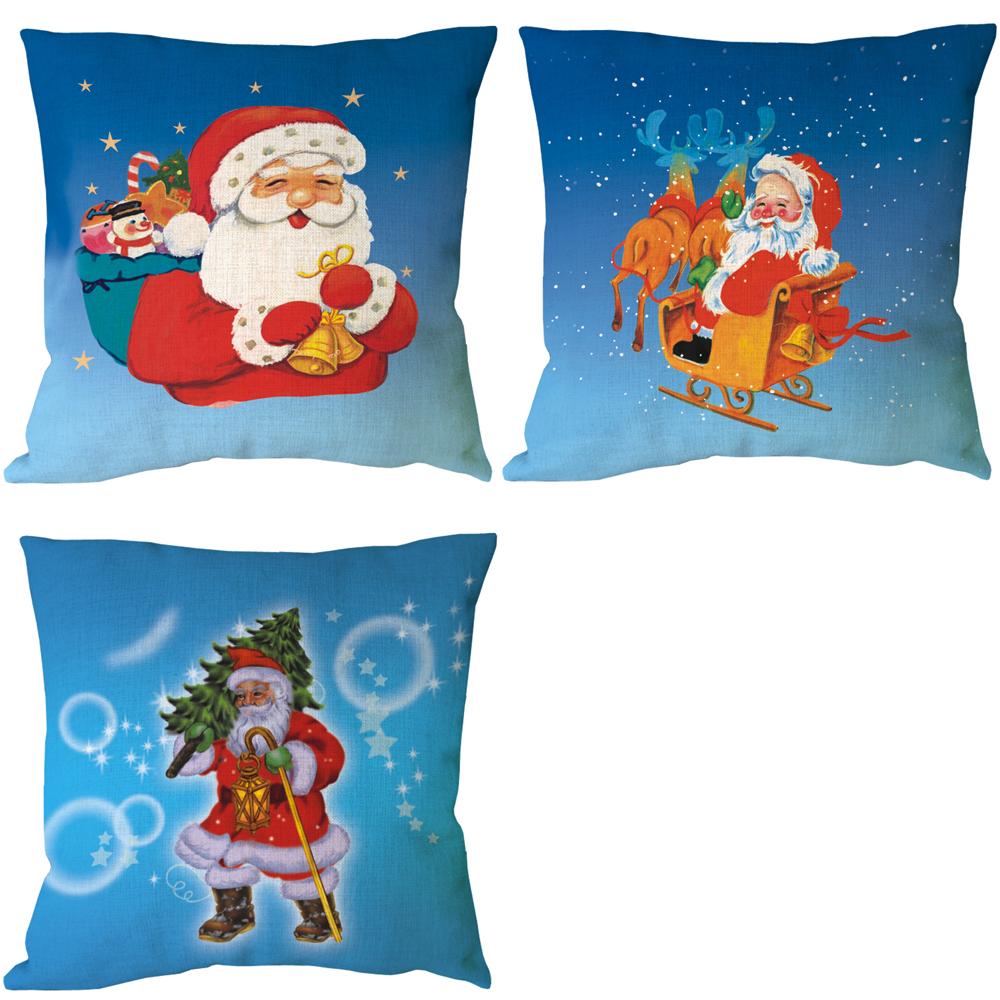 santa navidad con ciervos serie de impresin azul de lino cojines para sillas de nios