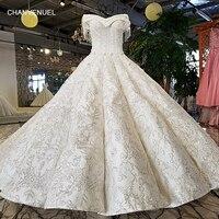 LS96120 100% real off shoulder short sleeves wedding gown trouwen corset back off white satin fabric royal design wedding dress