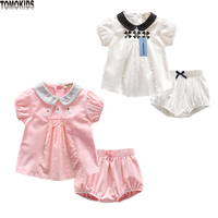 TomoKids Newborn Clothes Infant Sets Cotton Blouse Short Sleeved And Shorts Summer Baby Clothes Wholesale 2017