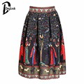 Daylook  Autumn Skirt Chic Multicolor High Waist Tribe Pattern Flare Midi Pleated Skirt Women Casual Style Fashion Warm