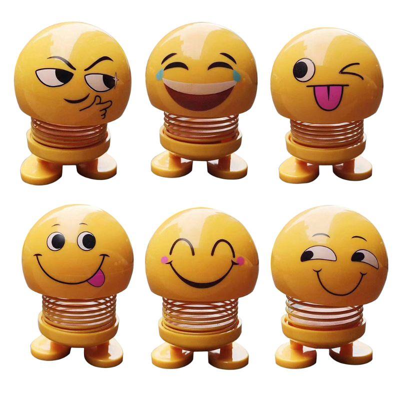 Car Funny Shaking Head Emoji Doll Vehicle Smile Bobblehead Decoration Ornament